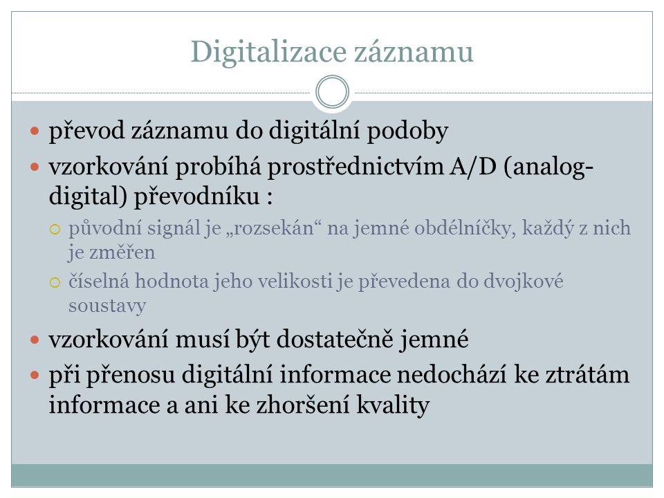 """Digitalizace záznamu převod záznamu do digitální podoby vzorkování probíhá prostřednictvím A/D (analog- digital) převodníku :  původní signál je """"roz"""