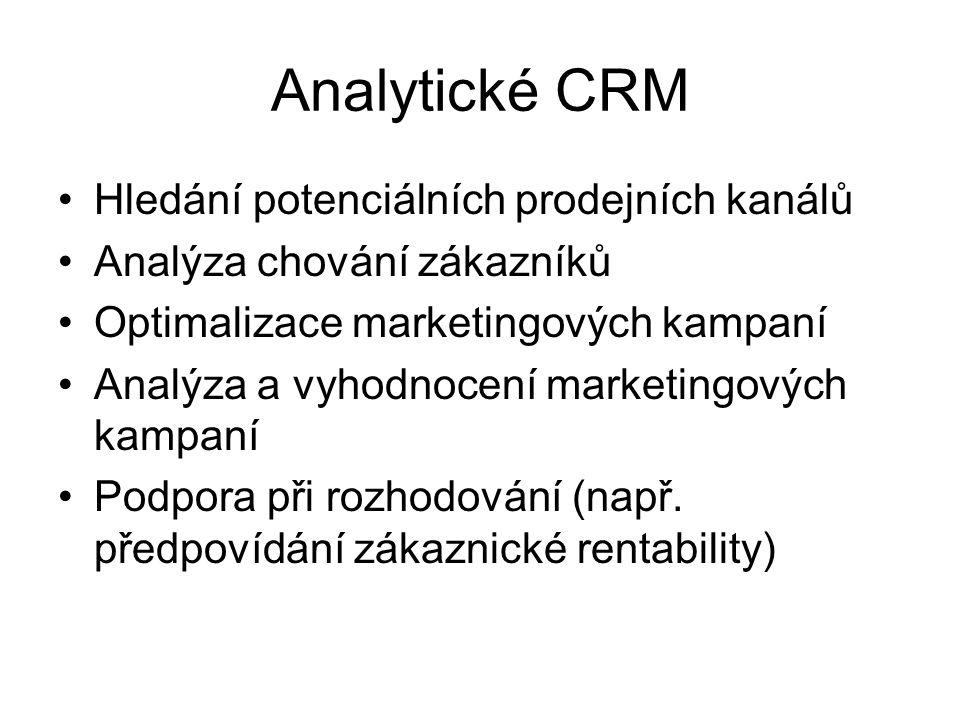 Hledání potenciálních prodejních kanálů Analýza chování zákazníků Optimalizace marketingových kampaní Analýza a vyhodnocení marketingových kampaní Pod