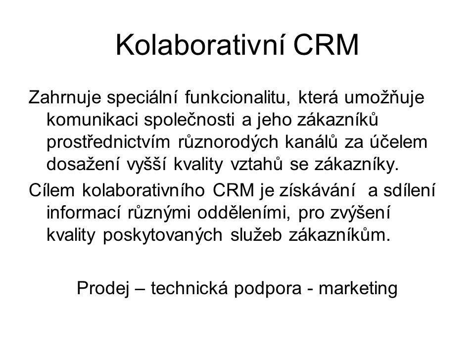 Kolaborativní CRM Zahrnuje speciální funkcionalitu, která umožňuje komunikaci společnosti a jeho zákazníků prostřednictvím různorodých kanálů za účele