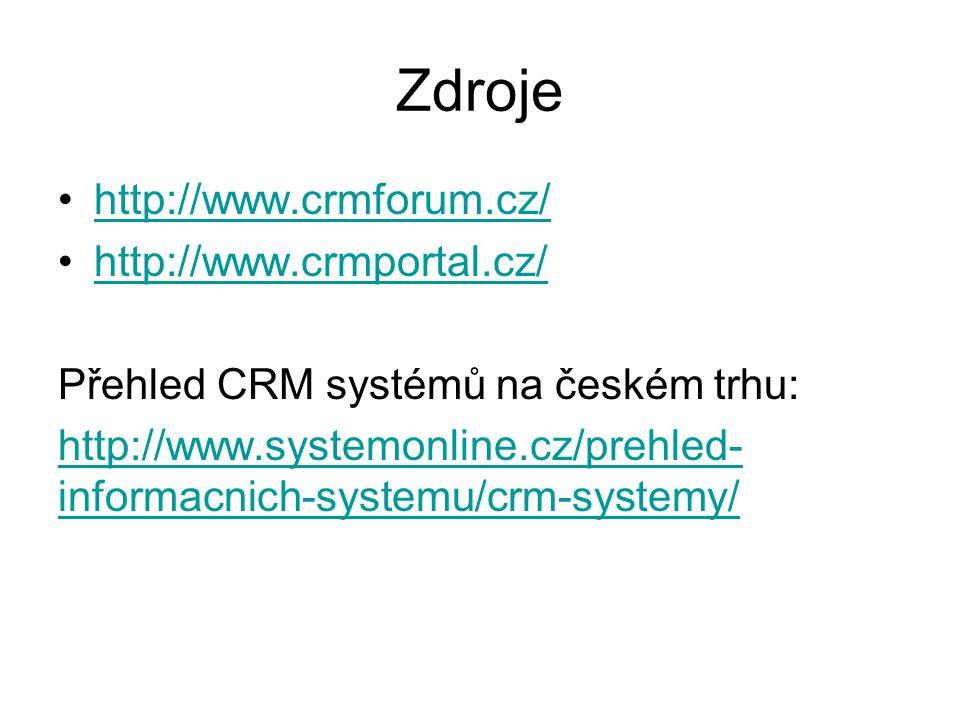 Zdroje http://www.crmforum.cz/ http://www.crmportal.cz/ Přehled CRM systémů na českém trhu: http://www.systemonline.cz/prehled- informacnich-systemu/c