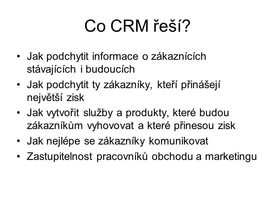 Cíl CRM Analytický nástroj – podpora plánování Vyhledání a rozpoznání klíčových zákazníků Pomoc při vytváření podnikové strategie Záznam znalostí o zákaznících, jejich chování, potřeb, preferencí, zvyků Predikce přání zákazníků Podpora marketingu Podpora komunikace se zákazníky