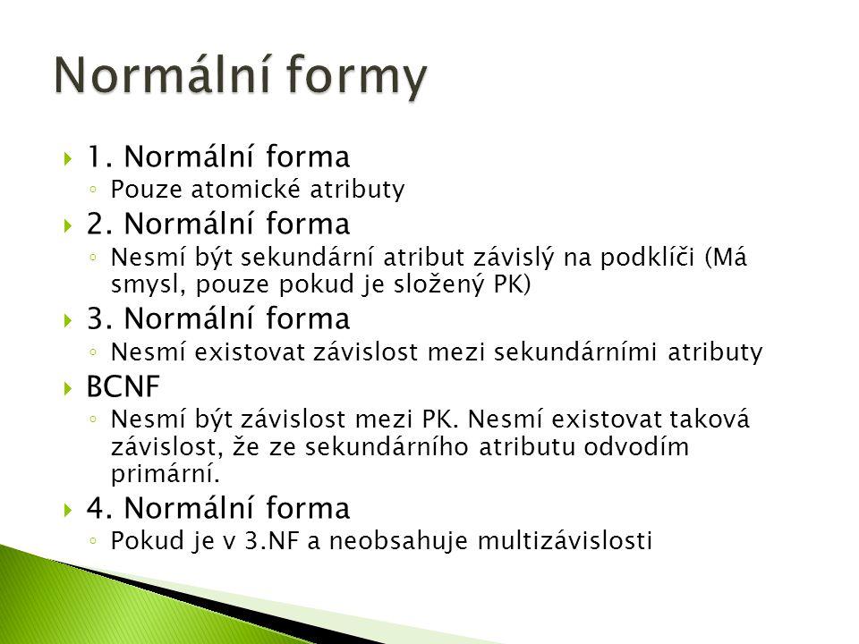  1. Normální forma ◦ Pouze atomické atributy  2.