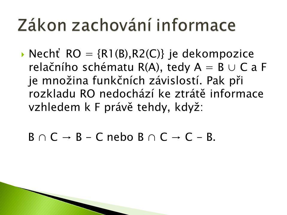  Nechť RO = {R1(B),R2(C)} je dekompozice relačního schématu R(A), tedy A = B ∪ C a F je množina funkčních závislostí.