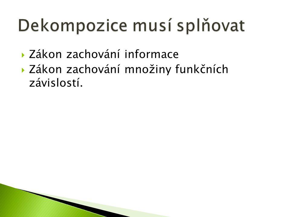  Zákon zachování informace  Zákon zachování množiny funkčních závislostí.
