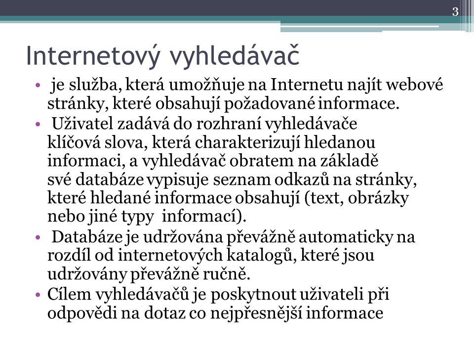 Internetový vyhledávač je služba, která umožňuje na Internetu najít webové stránky, které obsahují požadované informace. Uživatel zadává do rozhraní v