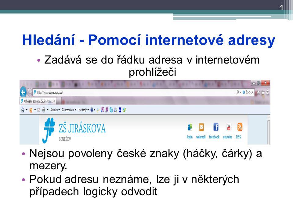 Hledání - Pomocí internetové adresy 4 Zadává se do řádku adresa v internetovém prohlížeči Nejsou povoleny české znaky (háčky, čárky) a mezery. Pokud a