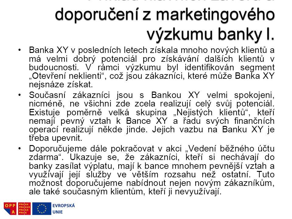 Dále je třeba klientům usnadnit přístup do Banky XY a rozvinout distribuční a komunikační kanály s bankou.