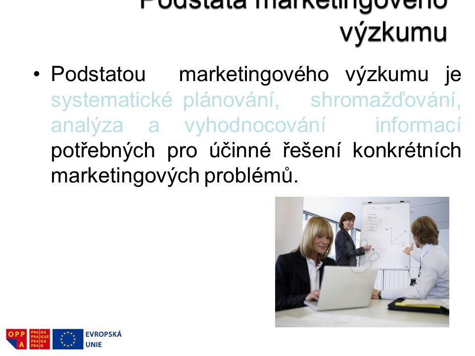 Podstatou marketingového výzkumu je systematické plánování, shromažďování, analýza a vyhodnocování informací potřebných pro účinné řešení konkrétních