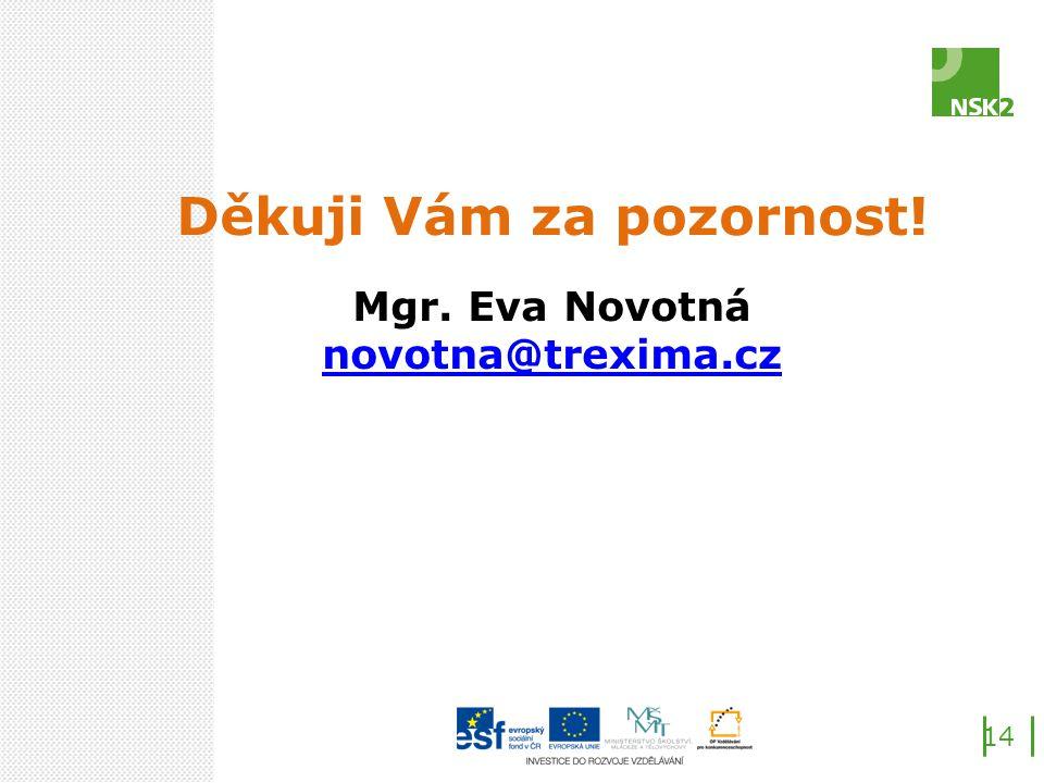 Děkuji Vám za pozornost! Mgr. Eva Novotná novotna@trexima.cz 14