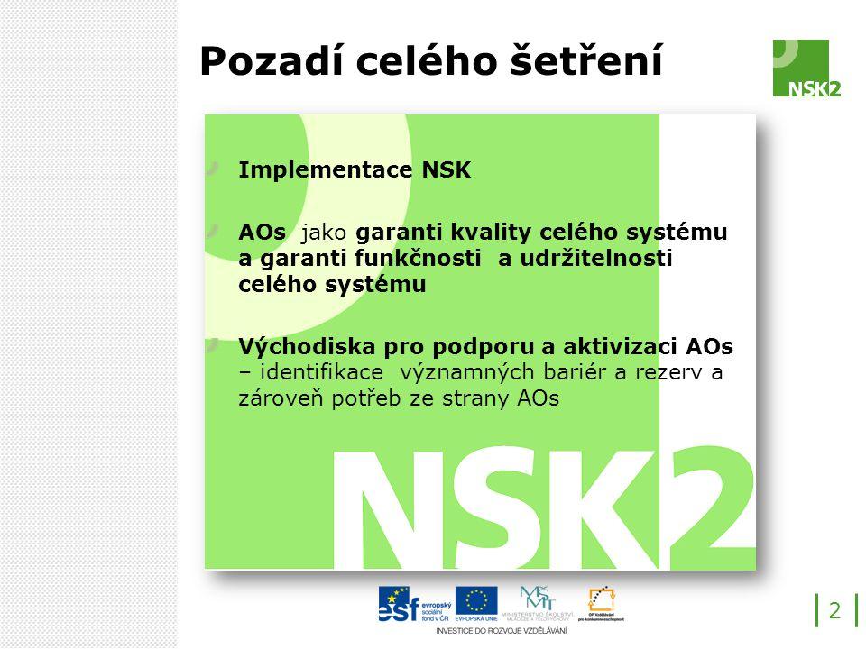 Pozadí celého šetření Implementace NSK AOs jako garanti kvality celého systému a garanti funkčnosti a udržitelnosti celého systému Východiska pro podporu a aktivizaci AOs – identifikace významných bariér a rezerv a zároveň potřeb ze strany AOs 2