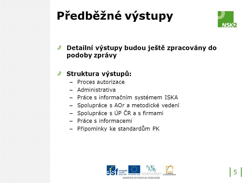 Předběžné výstupy Detailní výstupy budou ještě zpracovány do podoby zprávy Struktura výstupů: – Proces autorizace – Administrativa – Práce s informačním systémem ISKA – Spolupráce s AOr a metodické vedení – Spolupráce s ÚP ČR a s firmami – Práce s informacemi – Připomínky ke standardům PK 5