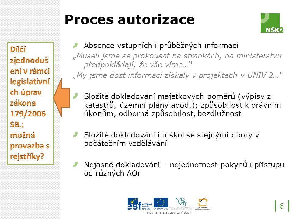 """Proces autorizace Absence vstupních i průběžných informací """"Museli jsme se prokousat na stránkách, na ministerstvu předpokládají, že vše víme… """"My jsme dost informací získaly v projektech v UNIV 2… Složité dokladování majetkových poměrů (výpisy z katastrů, územní plány apod.); způsobilost k právním úkonům, odborná způsobilost, bezdlužnost Složité dokladování i u škol se stejnými obory v počátečním vzdělávání Nejasné dokladování – nejednotnost pokynů i přístupu od různých AOr 6"""