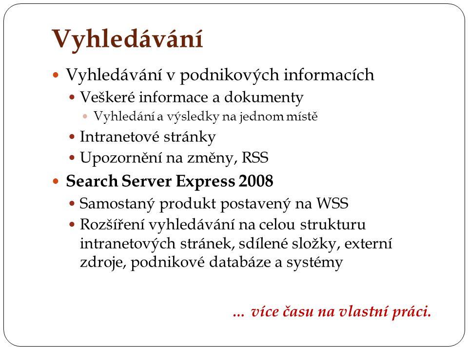 Vyhledávání Vyhledávání v podnikových informacích Veškeré informace a dokumenty Vyhledání a výsledky na jednom místě Intranetové stránky Upozornění na