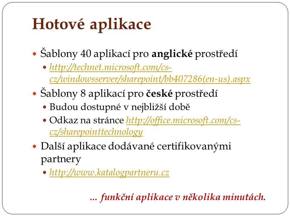 Hotové aplikace Šablony 40 aplikací pro anglické prostředí http://technet.microsoft.com/cs- cz/windowsserver/sharepoint/bb407286(en-us).aspx http://te