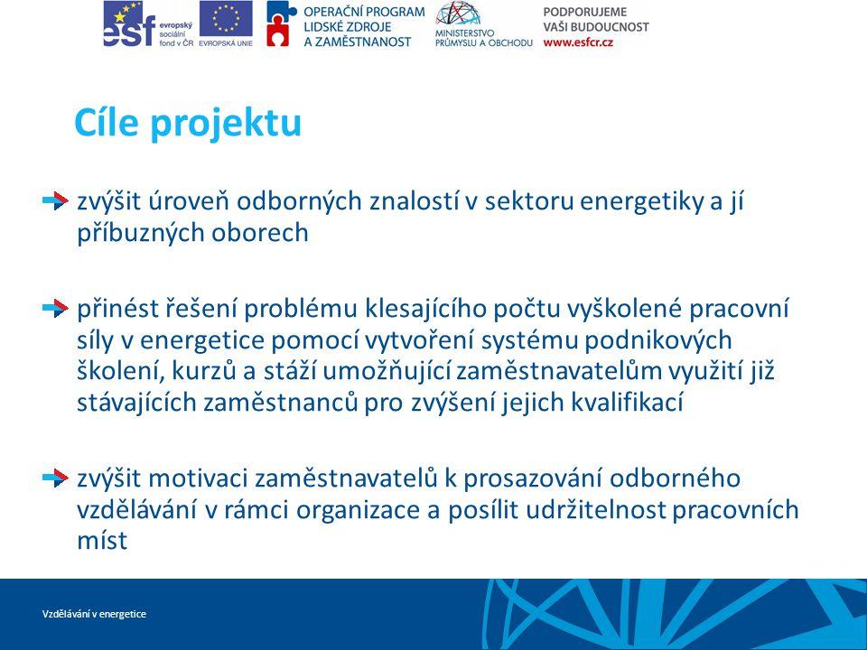 Vzdělávání v energetice Cíle projektu zvýšit úroveň odborných znalostí v sektoru energetiky a jí příbuzných oborech přinést řešení problému klesajícíh