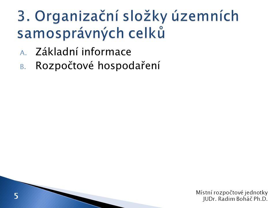 A. Základní informace B. Rozpočtové hospodaření Místní rozpočtové jednotky JUDr.