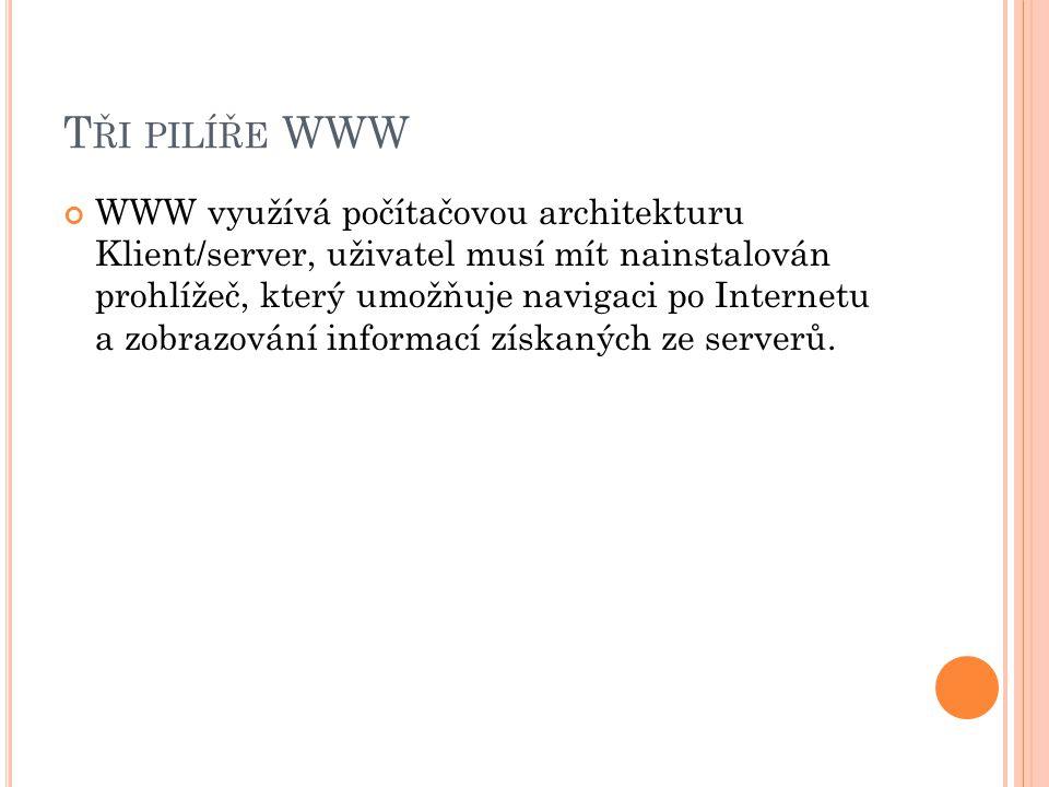 T ŘI PILÍŘE WWW WWW využívá počítačovou architekturu Klient/server, uživatel musí mít nainstalován prohlížeč, který umožňuje navigaci po Internetu a zobrazování informací získaných ze serverů.