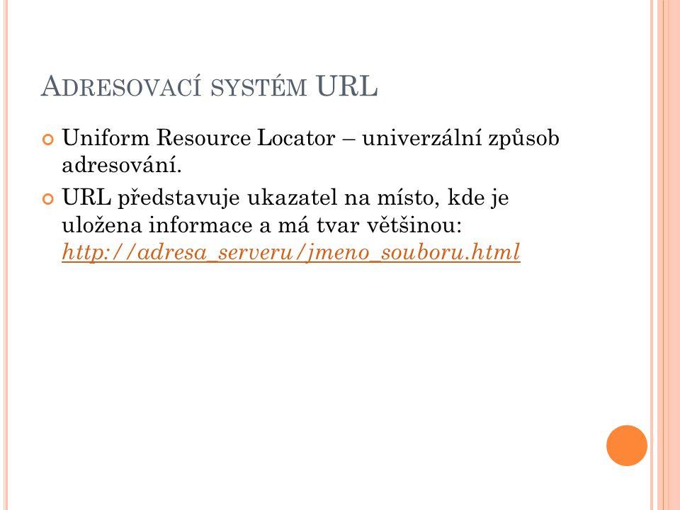 A DRESOVACÍ SYSTÉM URL Uniform Resource Locator – univerzální způsob adresování.