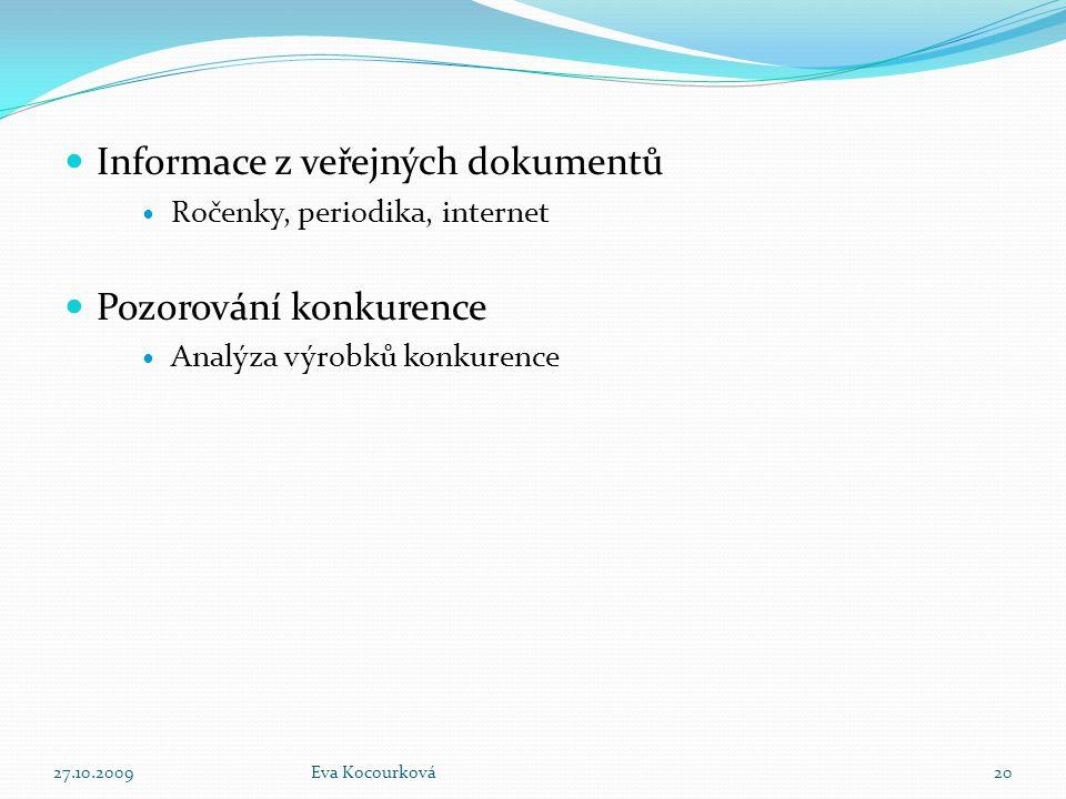 Informace z veřejných dokumentů Ročenky, periodika, internet Pozorování konkurence Analýza výrobků konkurence 27.10.2009Eva Kocourková20