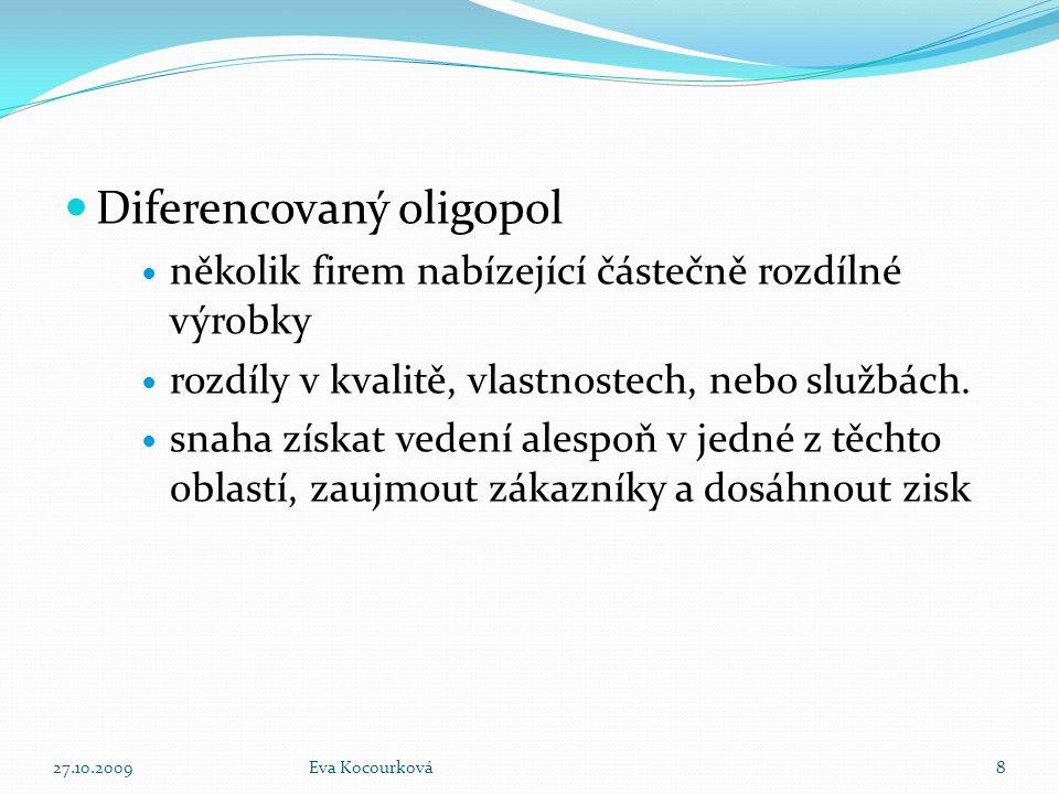 Diferencovaný oligopol několik firem nabízející částečně rozdílné výrobky rozdíly v kvalitě, vlastnostech, nebo službách. snaha získat vedení alespoň