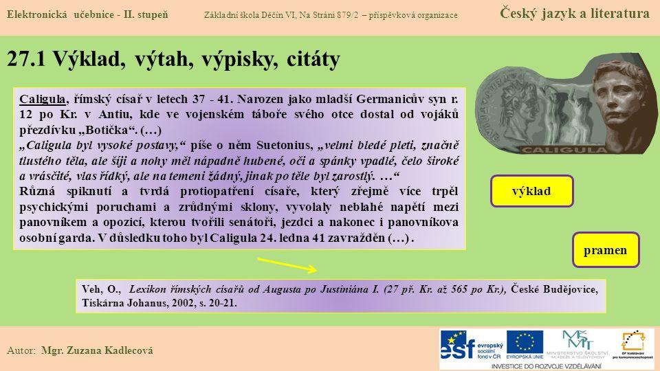 27.1 Výklad, výtah, výpisky, citáty Elektronická učebnice - II.