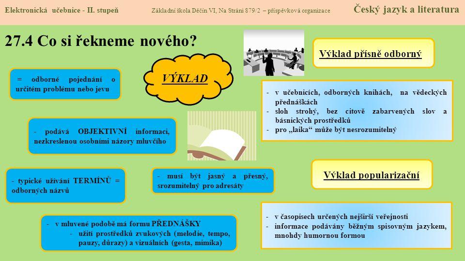 27.5 Procvičení a příklady Elektronická učebnice - II.