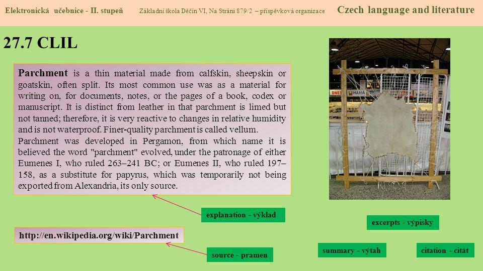 27.8 Test znalostí Správné odpovědi: 1.c 2.b 3.d 4.a Test na známku Elektronická učebnice - II.