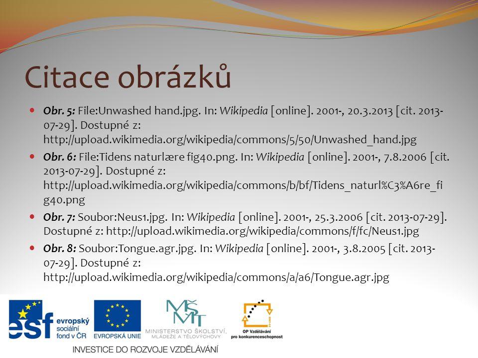 Citace obrázků Obr. 5: File:Unwashed hand.jpg. In: Wikipedia [online]. 2001-, 20.3.2013 [cit. 2013- 07-29]. Dostupné z: http://upload.wikimedia.org/wi