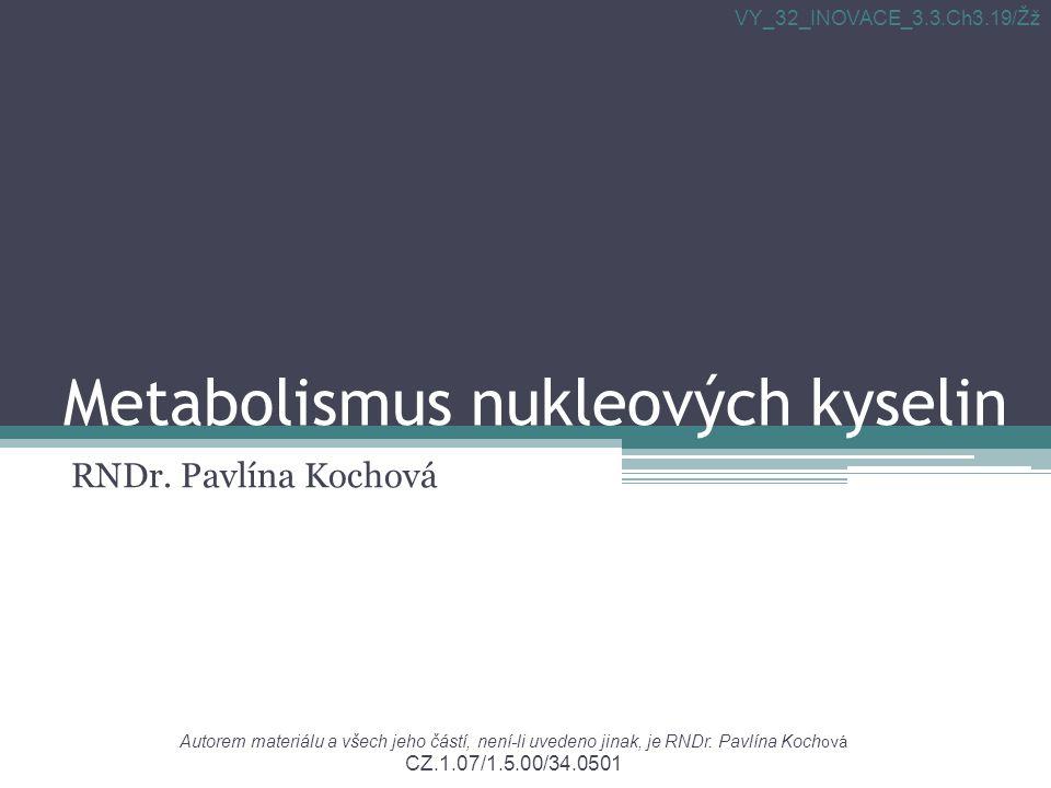 Metabolismus nukleových kyselin RNDr.