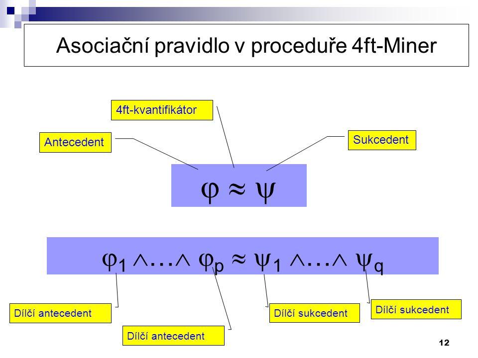 12      Antecedent Sukcedent 4ft-kvantifikátor  1  …   p   1  …   q Asociační pravidlo v proceduře 4ft-Miner Dílčí antecedent Dílčí suk