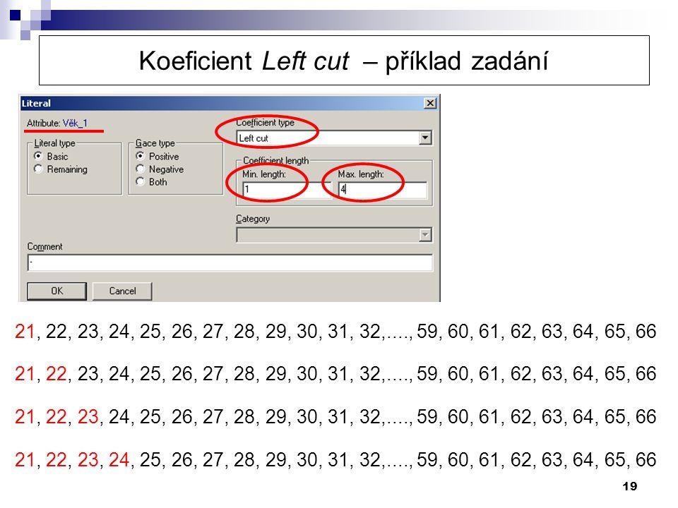 19 21, 22, 23, 24, 25, 26, 27, 28, 29, 30, 31, 32,...., 59, 60, 61, 62, 63, 64, 65, 66 Koeficient Left cut – příklad zadání