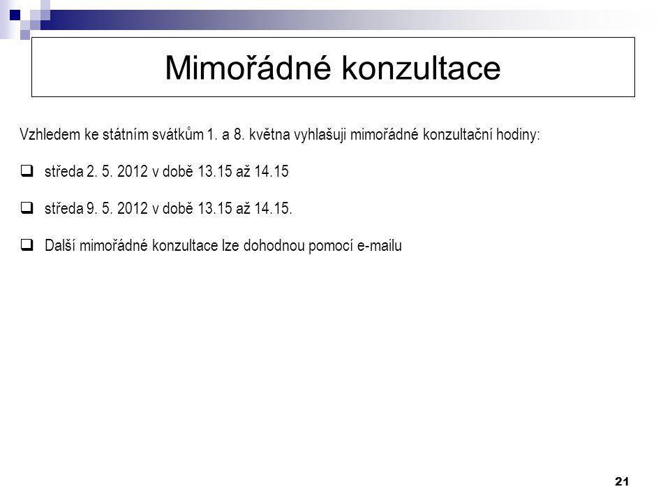 21 Mimořádné konzultace Vzhledem ke státním svátkům 1. a 8. května vyhlašuji mimořádné konzultační hodiny:  středa 2. 5. 2012 v době 13.15 až 14.15 