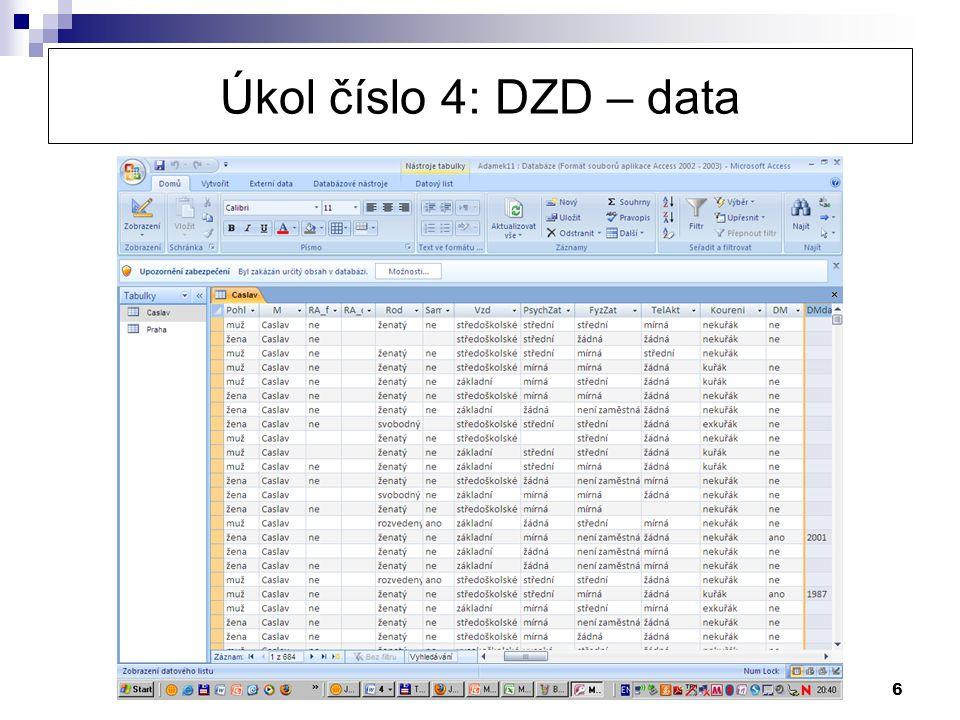 6 Úkol číslo 4: DZD – data