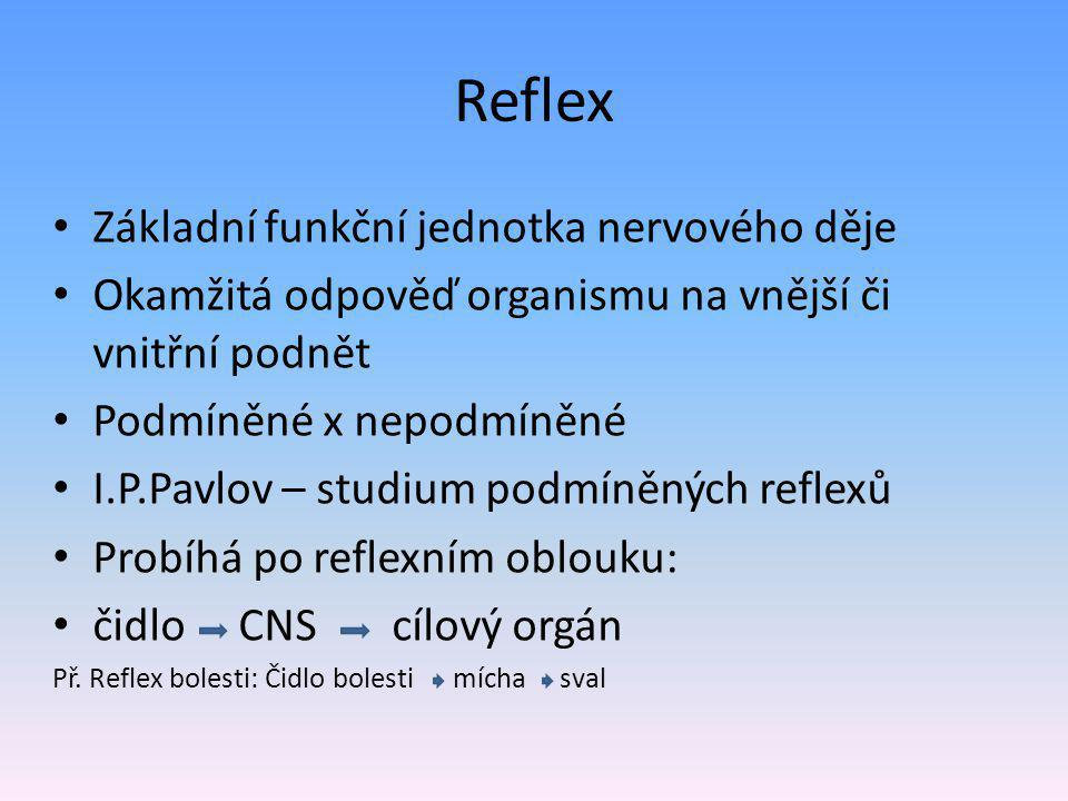 Reflex Základní funkční jednotka nervového děje Okamžitá odpověď organismu na vnější či vnitřní podnět Podmíněné x nepodmíněné I.P.Pavlov – studium podmíněných reflexů Probíhá po reflexním oblouku: čidlo CNS cílový orgán Př.