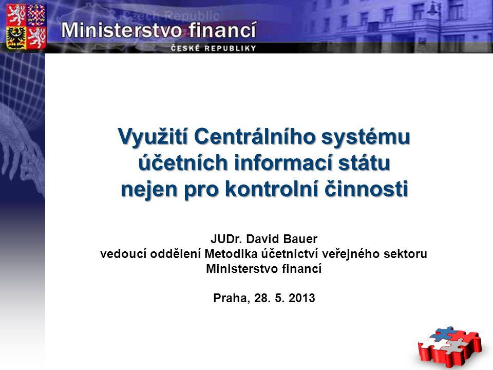 Page  1 YOUR LOGO STÁTNÍ Využití Centrálního systému účetních informací státu nejen pro kontrolní činnosti JUDr. David Bauer vedoucí oddělení Metodik
