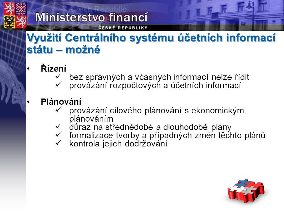 Page  4 YOUR LOGO STÁTNÍ Využití Centrálního systému účetních informací státu – možné Řízení bez správných a včasných informací nelze řídit provázání