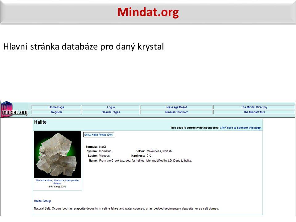 Mindat.org Hlavní stránka databáze pro daný krystal