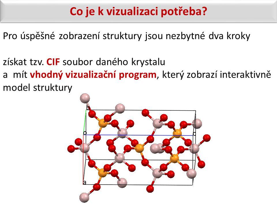 Pro úspěšné zobrazení struktury jsou nezbytné dva kroky získat tzv. CIF soubor daného krystalu a mít vhodný vizualizační program, který zobrazí intera