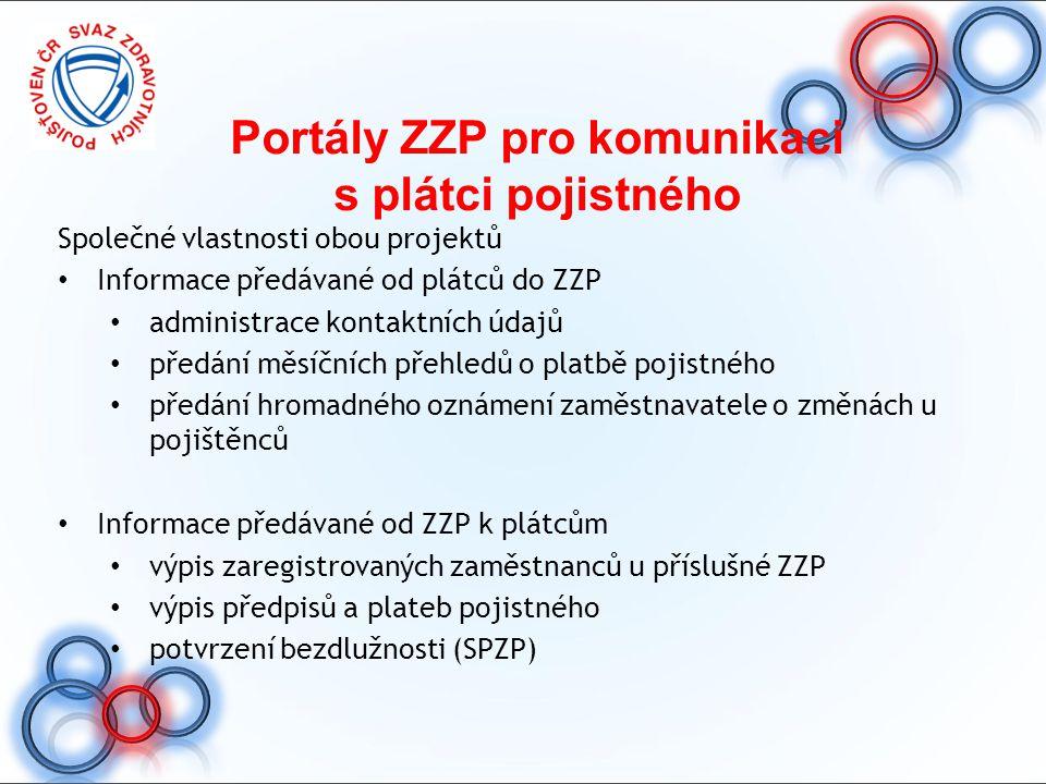 Portály ZZP pro komunikaci s plátci pojistného Společné vlastnosti obou projektů Informace předávané od plátců do ZZP administrace kontaktních údajů p