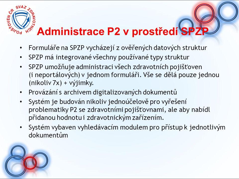 Administrace P2 v prostředí SPZP Formuláře na SPZP vycházejí z ověřených datových struktur SPZP má integrované všechny používané typy struktur SPZP um
