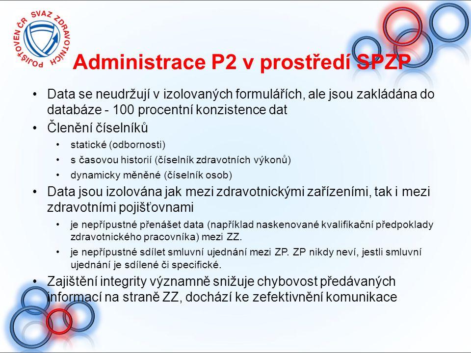 Administrace P2 v prostředí SPZP Data se neudržují v izolovaných formulářích, ale jsou zakládána do databáze - 100 procentní konzistence dat Členění č