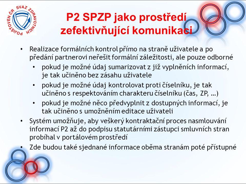 P2 SPZP jako prostředí zefektivňující komunikaci Realizace formálních kontrol přímo na straně uživatele a po předání partnerovi neřešit formální zálež