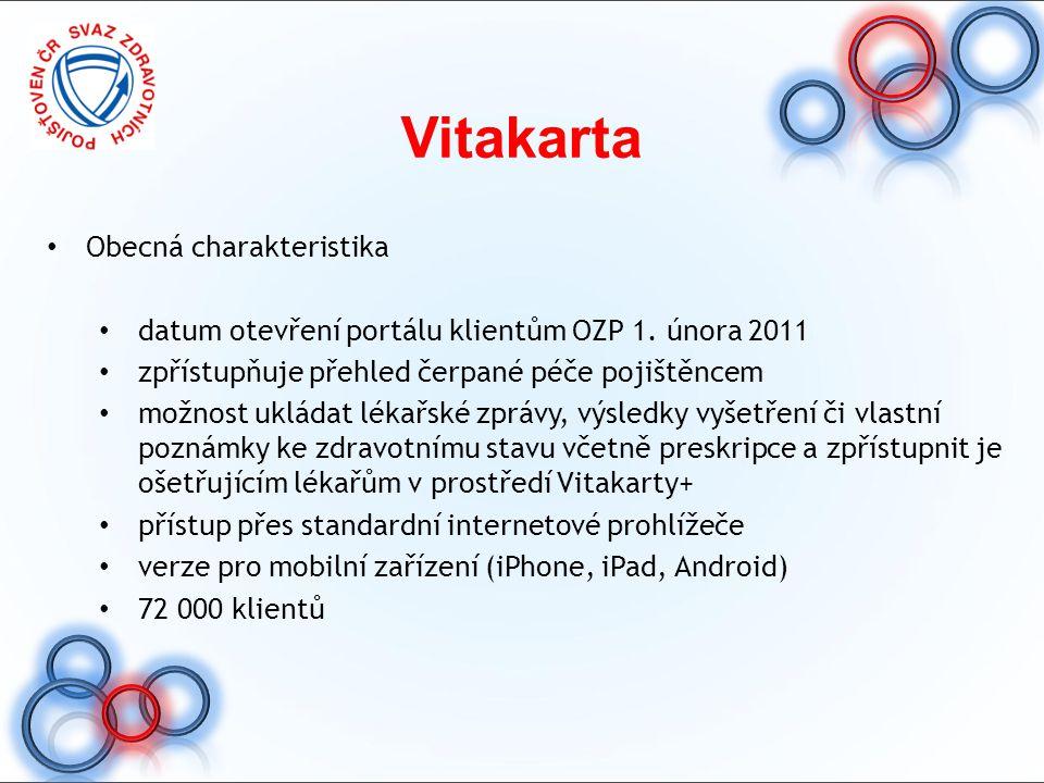 Vitakarta Obecná charakteristika datum otevření portálu klientům OZP 1. února 2011 zpřístupňuje přehled čerpané péče pojištěncem možnost ukládat lékař