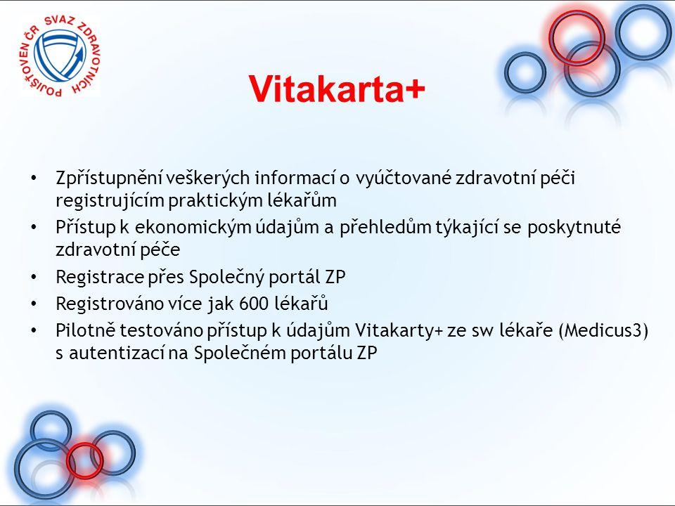 Vitakarta+ Zpřístupnění veškerých informací o vyúčtované zdravotní péči registrujícím praktickým lékařům Přístup k ekonomickým údajům a přehledům týka