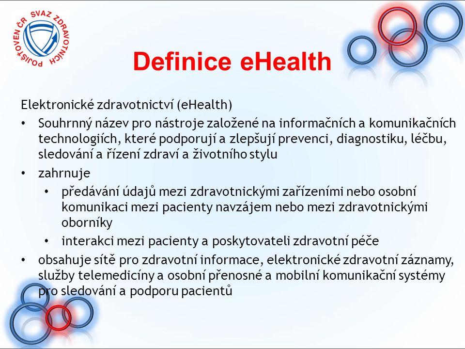 Definice eHealth Elektronické zdravotnictví (eHealth) Souhrnný název pro nástroje založené na informačních a komunikačních technologiích, které podpor