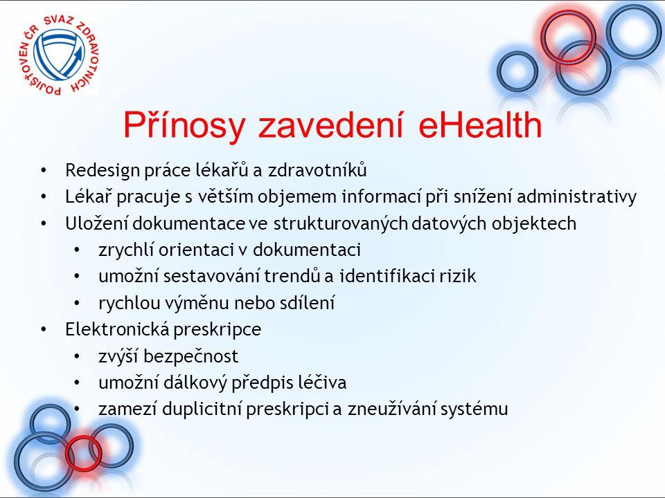 Přínosy zavedení eHealth Redesign práce lékařů a zdravotníků Lékař pracuje s větším objemem informací při snížení administrativy Uložení dokumentace v