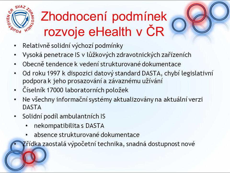 Zhodnocení podmínek rozvoje eHealth v ČR Relativně solidní výchozí podmínky Vysoká penetrace IS v lůžkových zdravotnických zařízeních Obecně tendence
