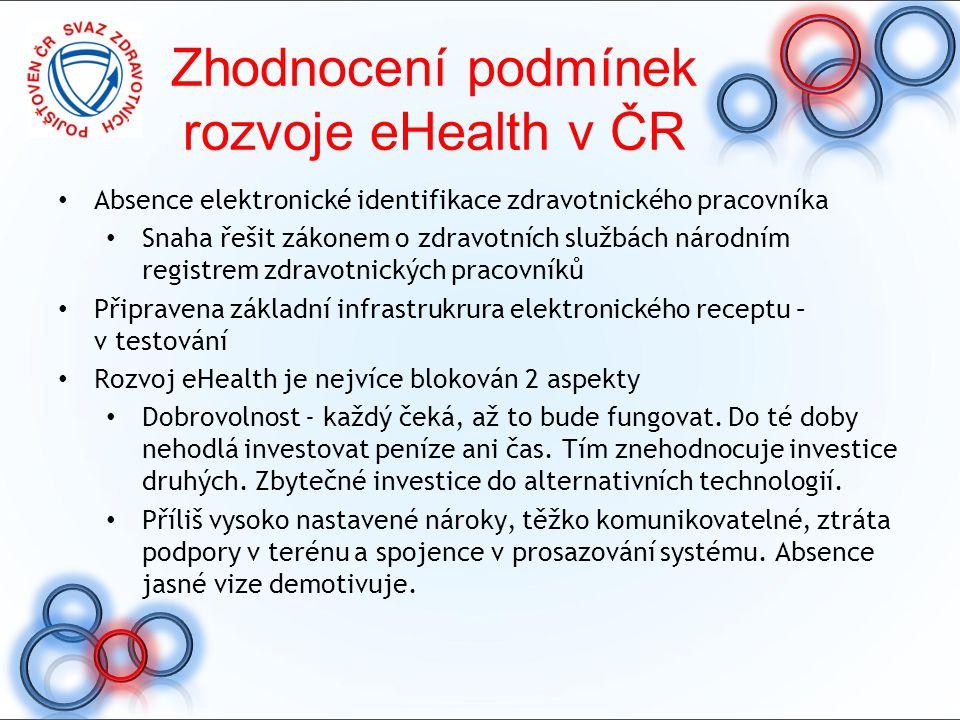 Zhodnocení podmínek rozvoje eHealth v ČR Absence elektronické identifikace zdravotnického pracovníka Snaha řešit zákonem o zdravotních službách národn