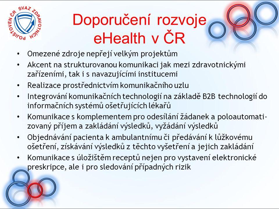 Doporučení rozvoje eHealth v ČR Omezené zdroje nepřejí velkým projektům Akcent na strukturovanou komunikaci jak mezi zdravotnickými zařízeními, tak i