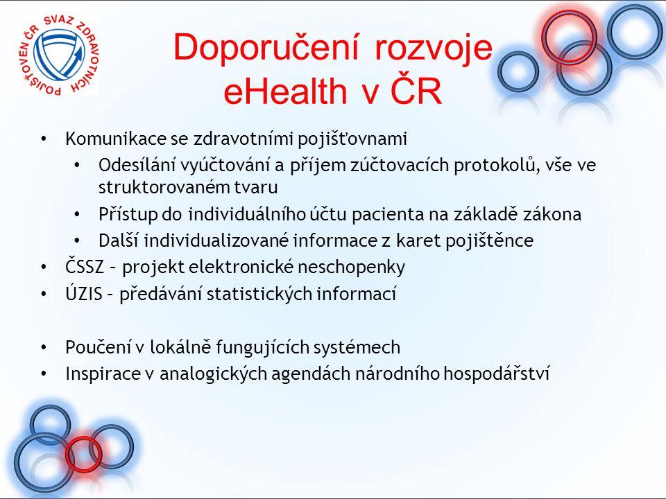 Komunikace se zdravotními pojišťovnami Odesílání vyúčtování a příjem zúčtovacích protokolů, vše ve struktorovaném tvaru Přístup do individuálního účtu